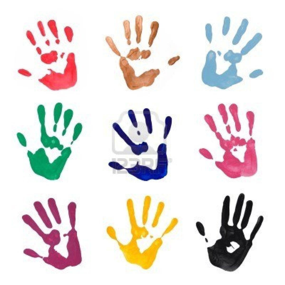 5116077 colorful mains de la main de peinture sur fond blanc ecole st joseph de ploubalay - Peinture main enfant ...